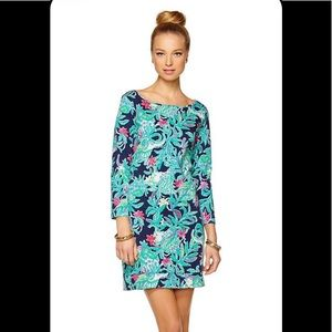 LILLY PULITZER MARLOWE FLORAL PRINT BOATNECK DRESS